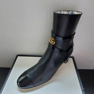NIB Gucci GG logo leather ankle boots IT 40